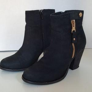 Aldo Black Zip Heeled Ankle Boots Booties 6